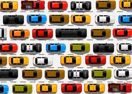 Illustration pour Traffic jam on the road. Road transport. Highway banner. Vector background - image libre de droit