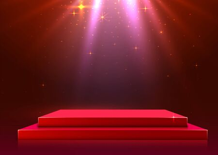 Illustration pour Abstract podium illuminated with spotlight. Award ceremony concept. Stage backdrop. Vector illustration - image libre de droit