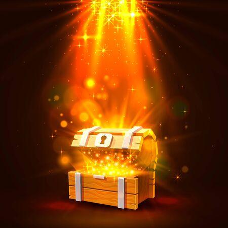 Ilustración de Open chest with gold, the bright background. Vector illustration - Imagen libre de derechos