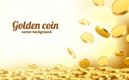Ilustración de Falling coins, falling money, flying gold coins, golden rain. Jackpot or success concept. Modern background. Vector illustration - Imagen libre de derechos