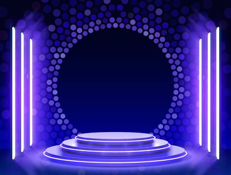Illustration pour Stage podium with lighting, Stage Podium Scene with for Award Ceremony on blue Background, Vector illustration - image libre de droit