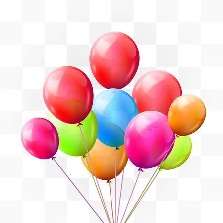Illustration pour Balloon brunch on transparent background. Greeting, happy birthday concept. Vector illustration - image libre de droit