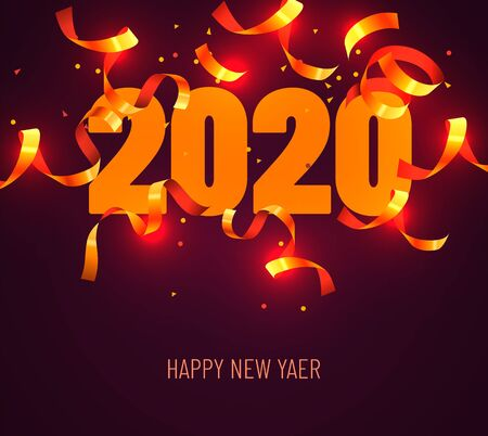 Illustration for 2020 Happy New Year Greeting with Gold Confetti. Vector Illustration. Design element for flyers, leaflets, postcards and posters. Vector illustration - Royalty Free Image