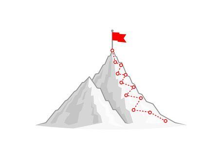 Illustration pour Hiking trip to the top of the mountain. Vector illustration - image libre de droit