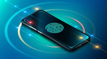 Photo pour Mobile data security concept. Smartphone with fingerprint scanner. Internet security. Fingerprint access password, fingerprint on smartphone screen, data protection. Vector illustration - image libre de droit