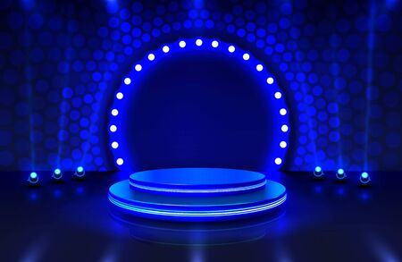 Illustration for Show light, Stage Podium Scene with for Award Ceremony on blue Background. - Royalty Free Image