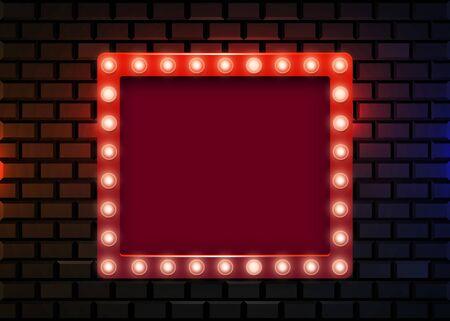 Illustration for Retro light sign on brick background. Vintage style banner. - Royalty Free Image