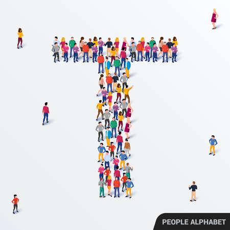 Illustration pour Large group of people in letter T form. Human alphabet. - image libre de droit