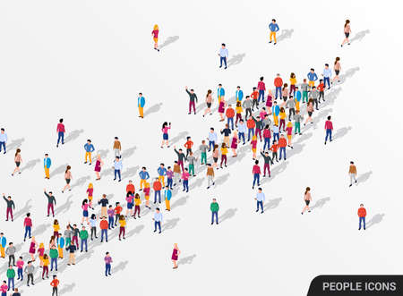 Illustration for Large group of people in the shape of an arrow, business, and technology. - Royalty Free Image