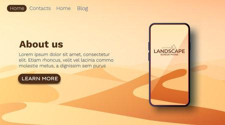 Illustration pour Desert landscape. Sand dunes. Nature background. Smartphone screen wallpaper mockup. Vector - image libre de droit