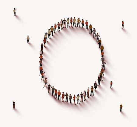 Illustration pour Large group of people in number 0 zero form - image libre de droit