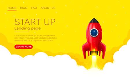 Illustration pour Start up idea Landing page screen, development technology, rocket banner. Vector - image libre de droit