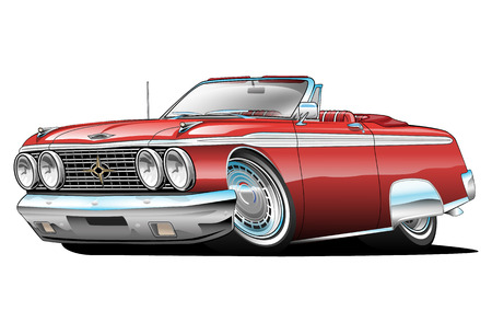 Illustration pour American Classic Car, red, cartoon illustration isolated on white background - image libre de droit