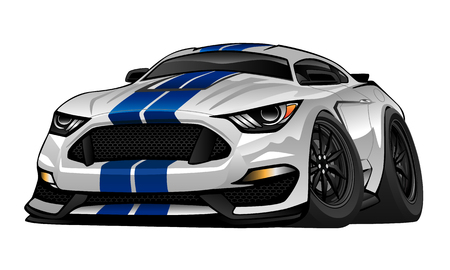 Ilustración de Modern American Muscle Car Cartoon Illustration - Imagen libre de derechos