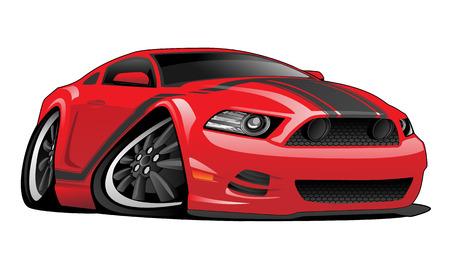 Ilustración de Red Muscle Car Cartoon Illustration - Imagen libre de derechos