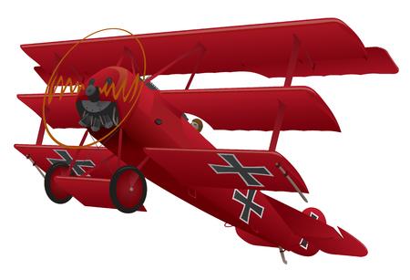 Ilustración de WWI Triplane Warbird Illustration - Imagen libre de derechos