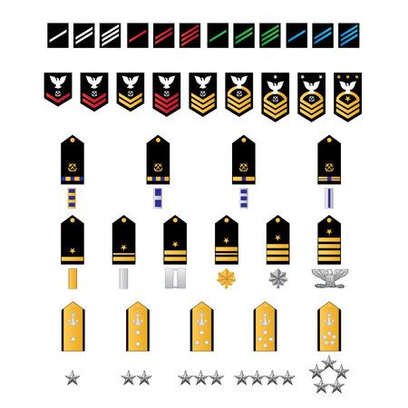 Illustration pour Naval Style Military Ranks - image libre de droit