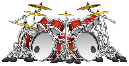 Illustration for Huge 10 Piece Rock Drum Set Musical Instrument Illustration - Royalty Free Image