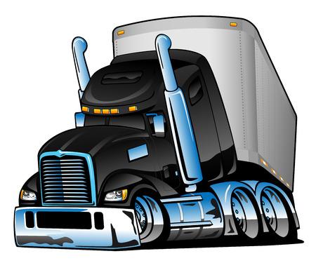 Ilustración de Semi Truck with Trailer Cartoon Vector Illustration - Imagen libre de derechos