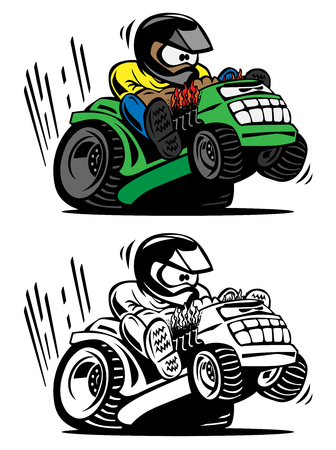Illustration for Cartoon racing lawnmower vector illustration - Royalty Free Image