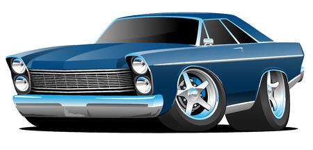 Illustration pour Classic Sixties Style Big American Muscle Car Cartoon Vector Illustration - image libre de droit