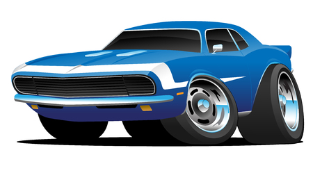 Illustration for Classic Sixties Style American Muscle Car Hot Rod Cartoon Vector Illustration - Royalty Free Image