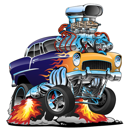 Illustration for Classic hot rod muscle car, flames, big engine, cartoon vector illustration - Royalty Free Image