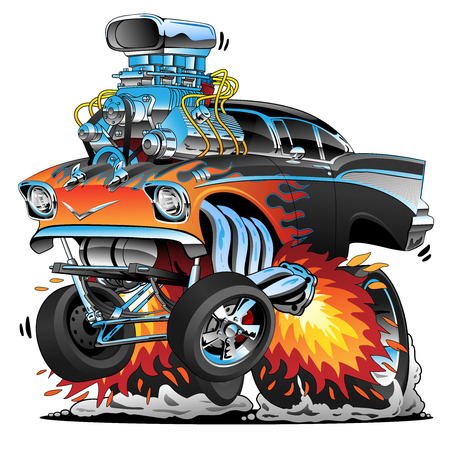 Classic hot rod fifties style gasser drag racing muscle car, red hot flames, big engine, lots of chrome, cartoon vector illustration