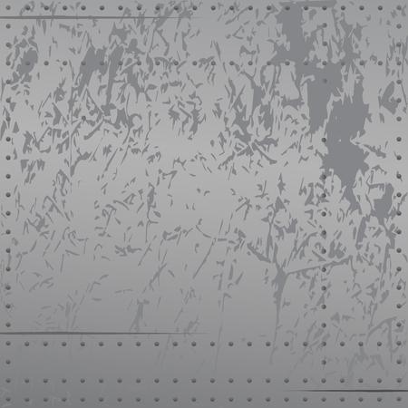 Illustration pour Distressed metal with rivets, scratches, soft cool gradient tones, background vector illustration - image libre de droit