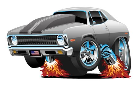 Illustration for Classic American Muscle Car Hot Rod Cartoon Isolated Vector Illustration - Royalty Free Image