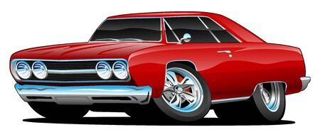Illustration pour Classic Muscle Car Cartoon Isolated Vector Illustration - image libre de droit