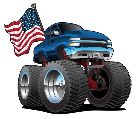 Illustration pour Monster Pickup Truck with USA Flag Cartoon Isolated Vector Illustration - image libre de droit