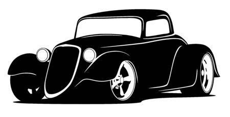 Illustration pour Custom American Hot Rod Car Isolated Vector Illustration - image libre de droit