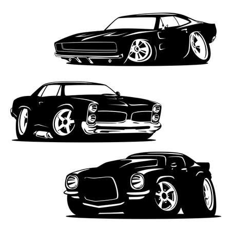 Illustration pour Hot Rod Muscle Cars Silhouette Set Isolated Vector Illustration - image libre de droit
