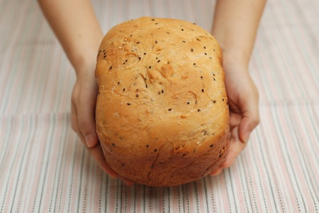 Presenting freshly baked bread