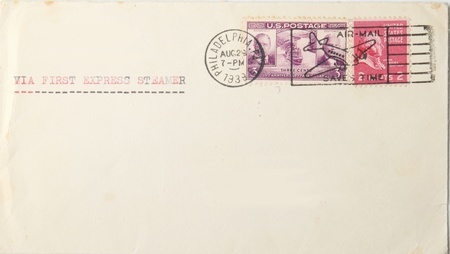 Vintage blank envelope with us postage stamps and postmarked 1939. Postmark says 'airmail saves time'  but typing says ' via first express steamer' . War had starrted in Europe.