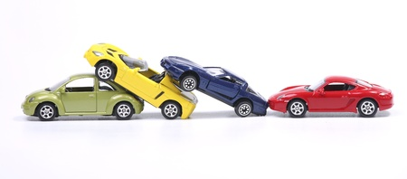 Toy cars in a simulated chain crash