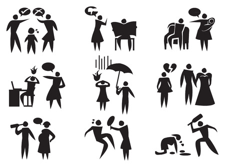 illustration of different domestic violence situations in black on white background.