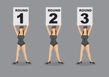 Set of six vector cartoon illustration of brown hair ring girl scantily clad in sexy black corset holding placard with round numbers isolated on grey plain background