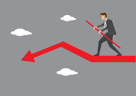 Cartoon business executive character doing sky walking and balancing carefully on declining red arrow. Creative illustration on business risk and balancing act concept.