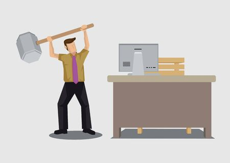 Frustrated employee raising a giant hammer to destroy office. Creative  cartoon drawing vector illustration on unhappy office worker.::  tasmeemME.com