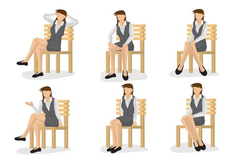 Illustration for Set of full length business woman in various sitting positions isolated on white background. - Royalty Free Image