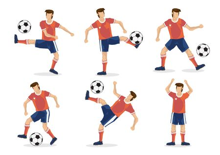 Illustration pour A set of soccer players of six. Isolated flat vector illustration. - image libre de droit