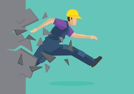 Creative cartoon vector illustration of construction worker breaking wall. Metaphor concept about breaking through obstacle of employee to achieve success.