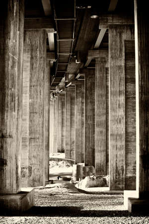 Photo for Classical segmental bridge from below in vintage style - Royalty Free Image