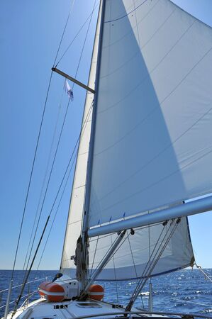 Photo for Sailing yacht on the in motion with open sails - Royalty Free Image