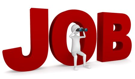 Looking for job concept depicting 3D man sitting inside O letter