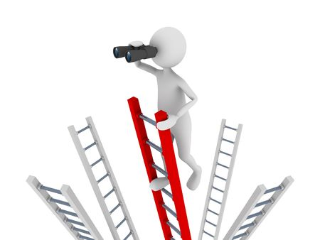 Search concept representing 3D man climbing to the top of a ladder and searching with the help of binoculars