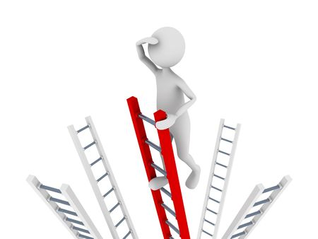 Search concept representing man climbing to top of the ladder and searching
