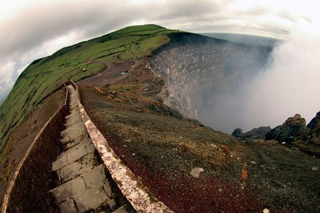 Breathtaking trail on the edge of Masaya volcano, Nicaragua